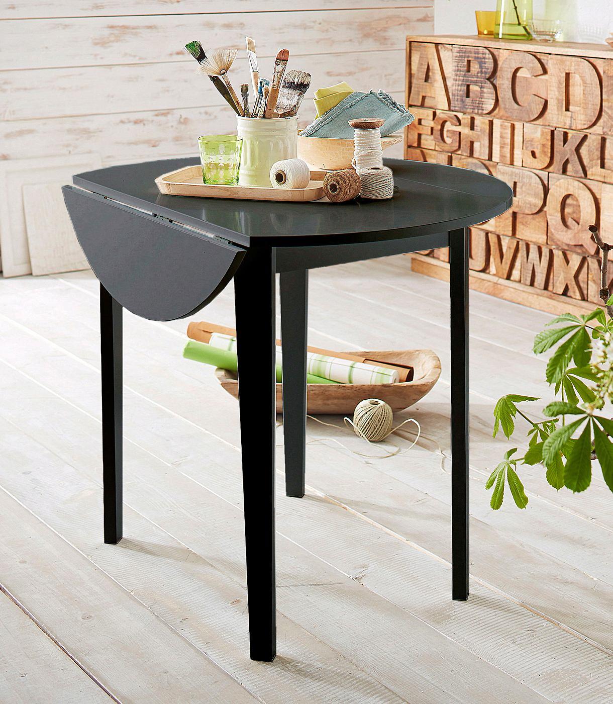 Home affaire Esstisch rund 92 cm, mit abklappbaren Seitenteilen, schwarz