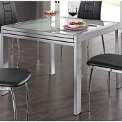 ausziehbarer Esstisch Glas bis 180 cm, alu, weiß oder verchromt