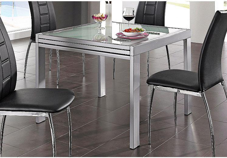 Esstisch ausziehbar Glas bis 180/240 cm, alu, weiß oder verchromt