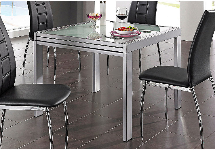 esstisch ausziehbar glas bis 180 240 cm alu wei oder. Black Bedroom Furniture Sets. Home Design Ideas