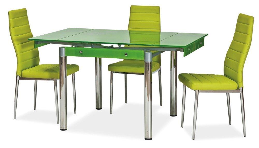 Ausziehbarer Glastisch Mit Blumenmuster Grün, 80 131 X 80 Cm ...