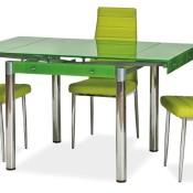 ausziehbarer Glastisch mit Blumenmuster grün, 80-131 x 80 cm