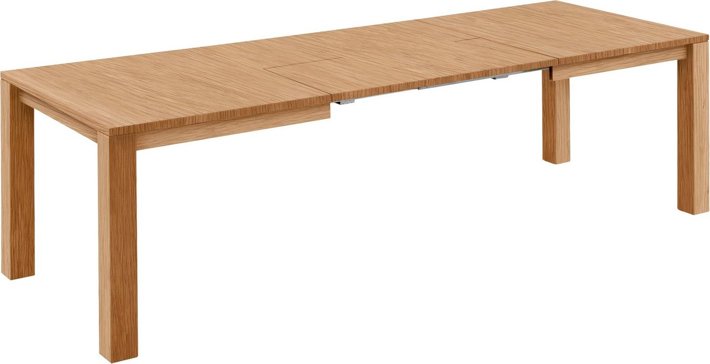 Premium Esstisch aus massiver Eiche mit Butterfly Auszug, Breite 140×90 cm