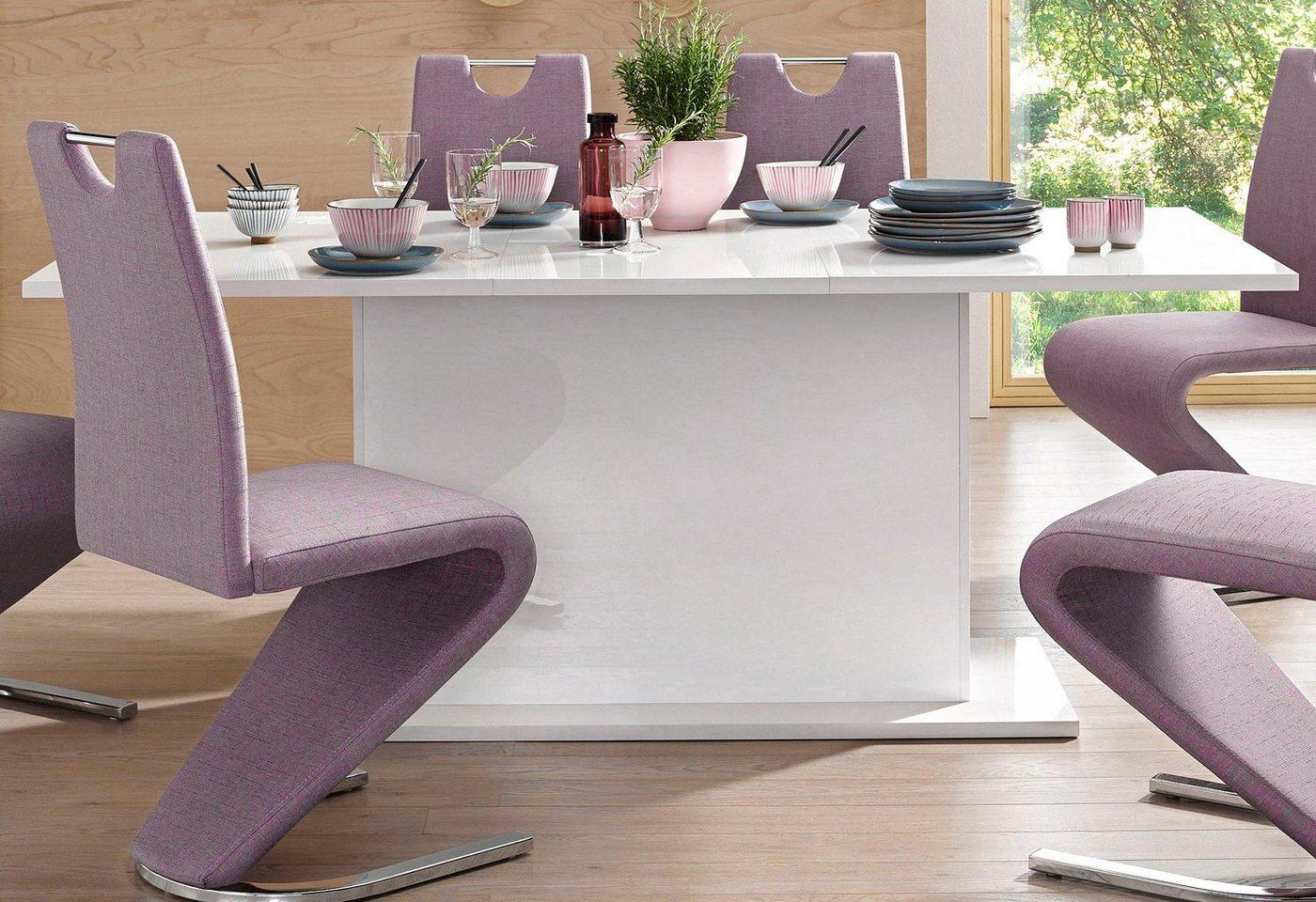 Esstisch mit Auszugfunktion 180-230 cm, weiß Hochglanz – in 4 Farben und 3 Größen