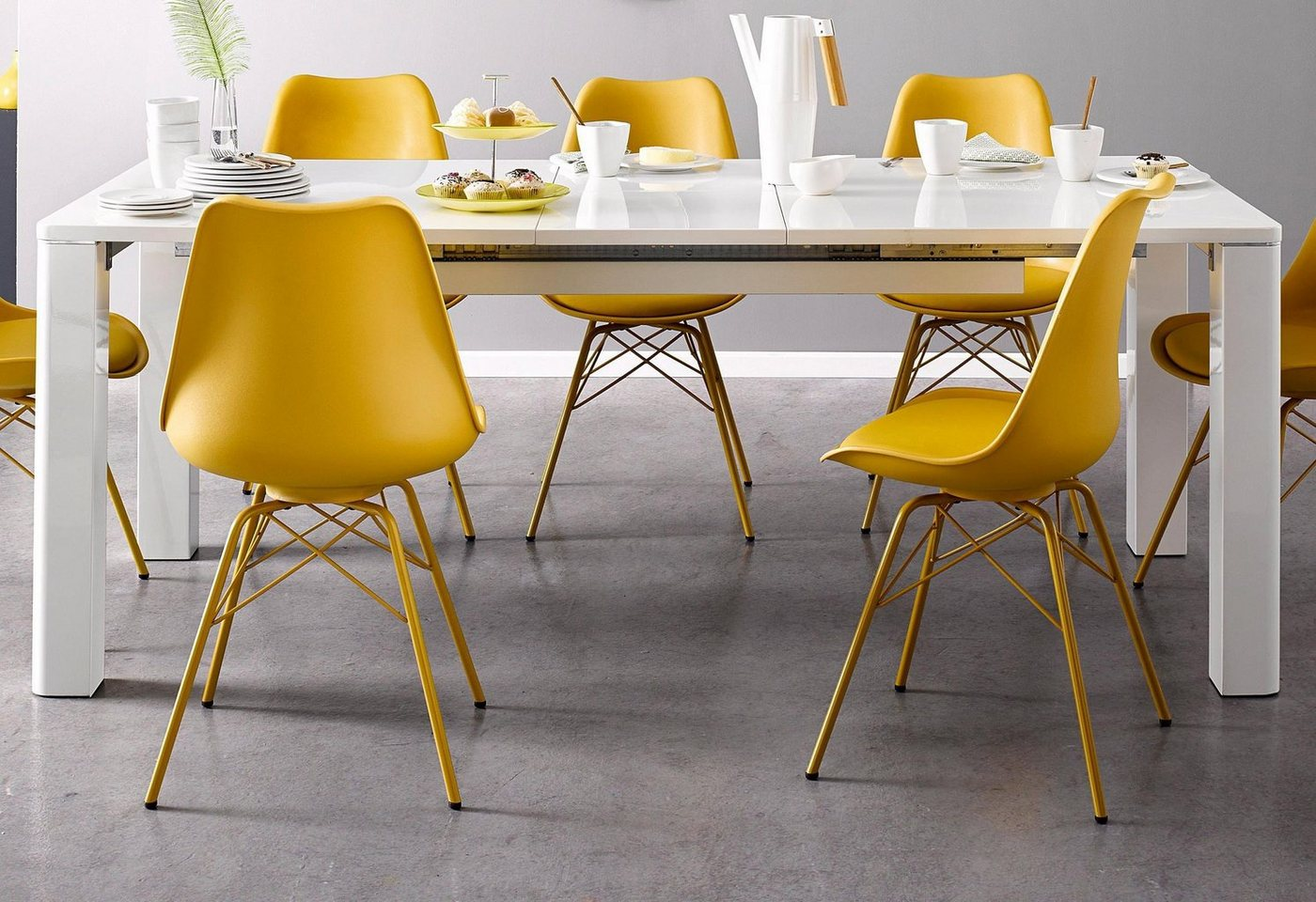 moderner Esstisch mit Butterfly-Auszug in weiß, Breite 160 cm