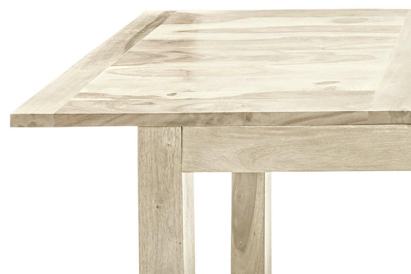 ausziehbarer Esstisch aus Massivholz, weiß, 160×90 cm
