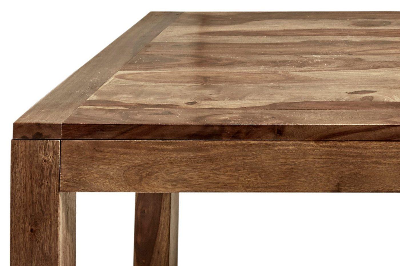 ausziehbarer Esstisch aus Massivholz, braun, 160×90 cm