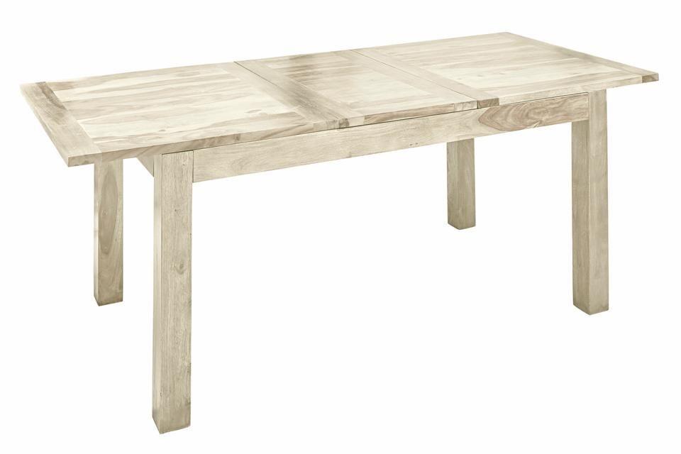 ausziehbarer Esstisch aus Massivholz, weiß, 130×80 cm