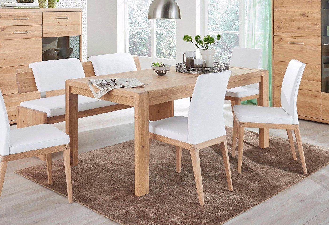 massivraum® Esstisch »DERVIO« aus Massivholz, Breite 180 cm, Wildeiche, mit Auszugsfunktion
