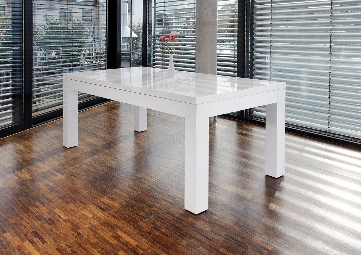 SalesFever Esstisch 180×90 cm ausziehbar weiß hochglänzend »Luke«