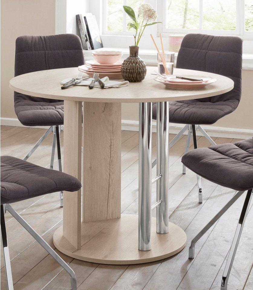 außergewöhnlicher runder Esstisch, Durchm. 105 cm, ausziehbar auf 145 cm, sandeiche