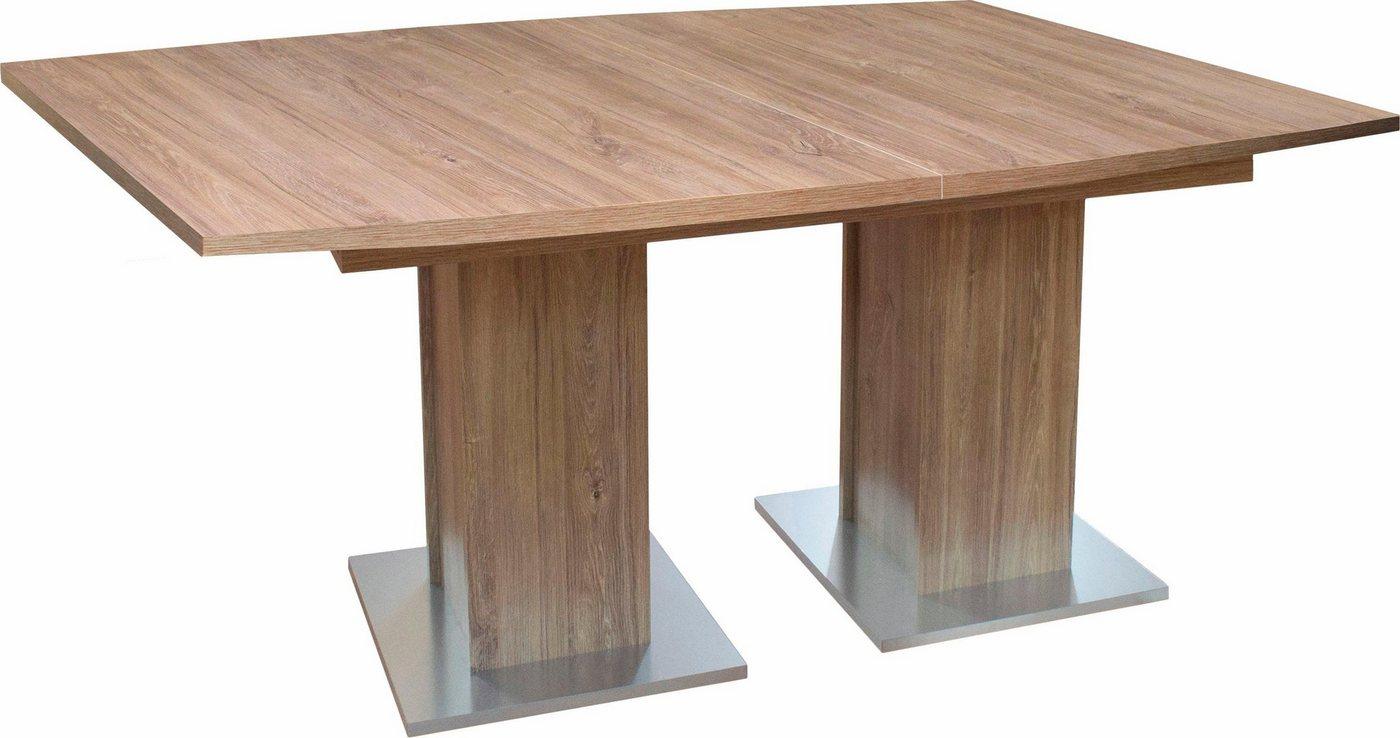 ausziehbarer Esstisch mit 2 Säulen, 160×76 cm in eichefarben sterling