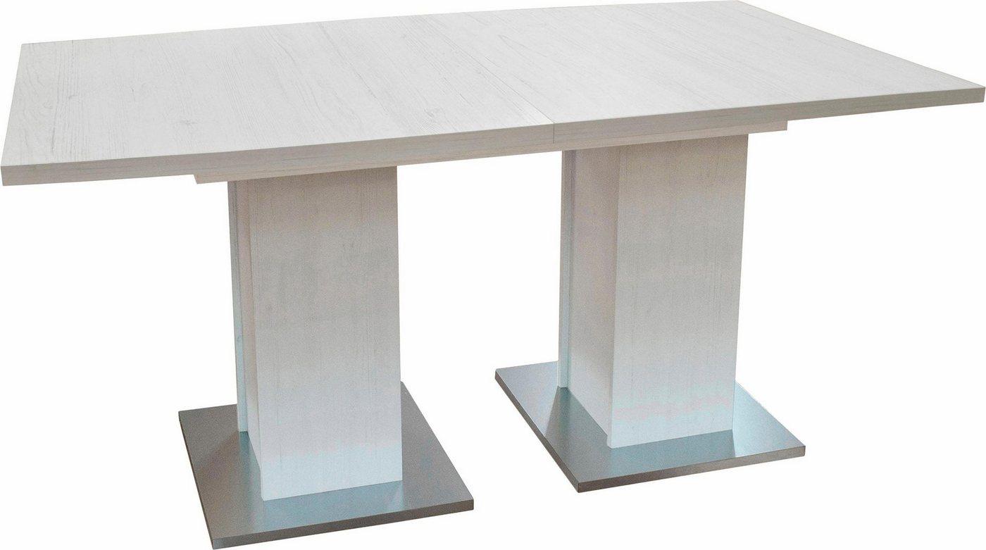 ausziehbarer Esstisch mit 2 Säulen, 190×76 cm in antik-weiß