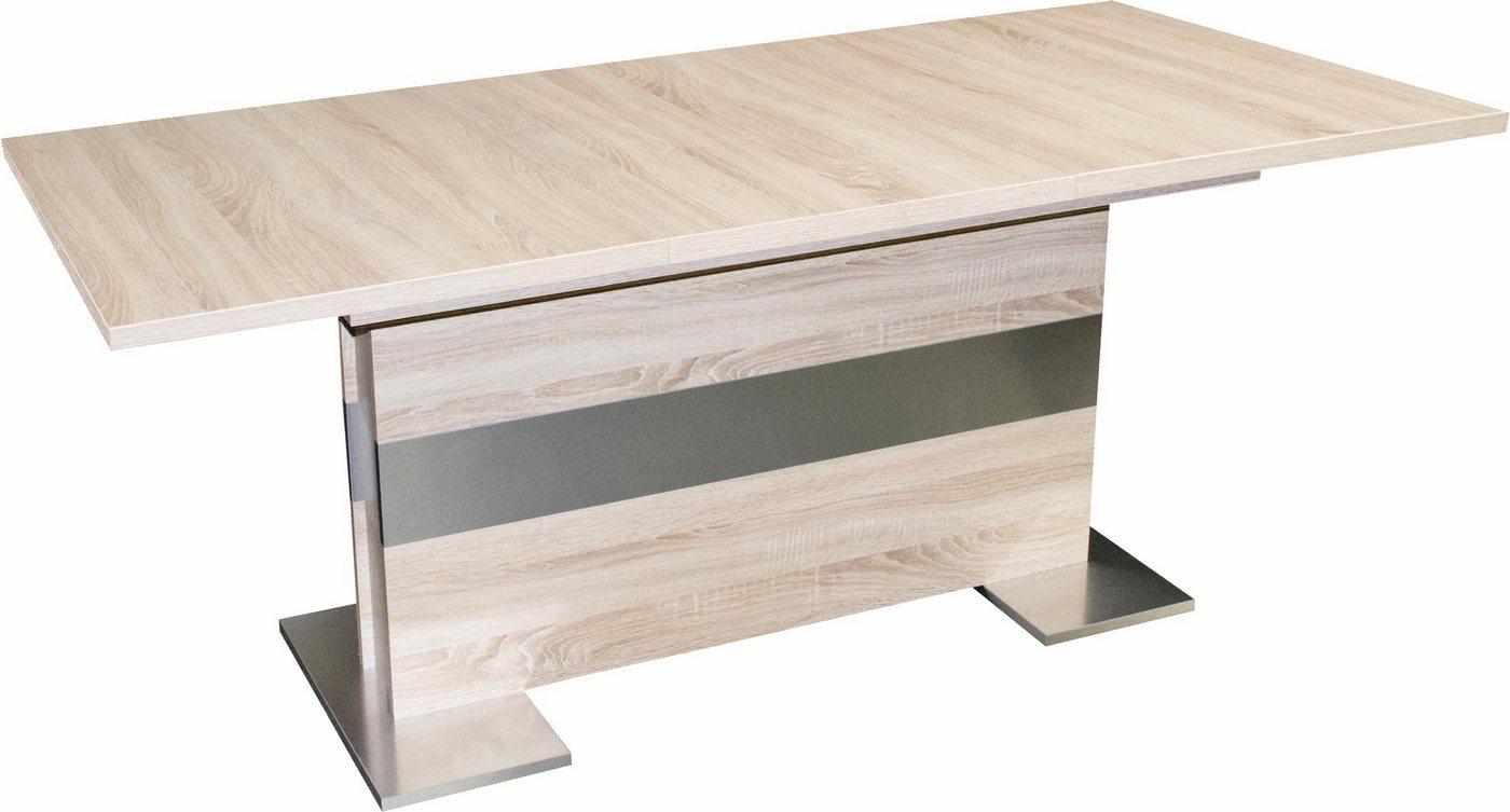 ausziehbarer Esstisch von 160×90 cm zu 210×90 cm, eichefarben