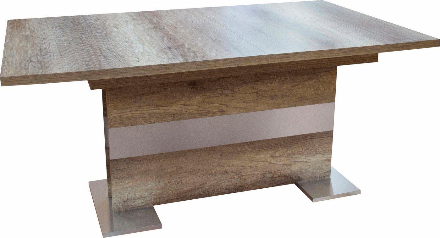 ausziehbarer Esstisch von 160×90 cm zu 210×90 cm, wildeichefarben trüffel