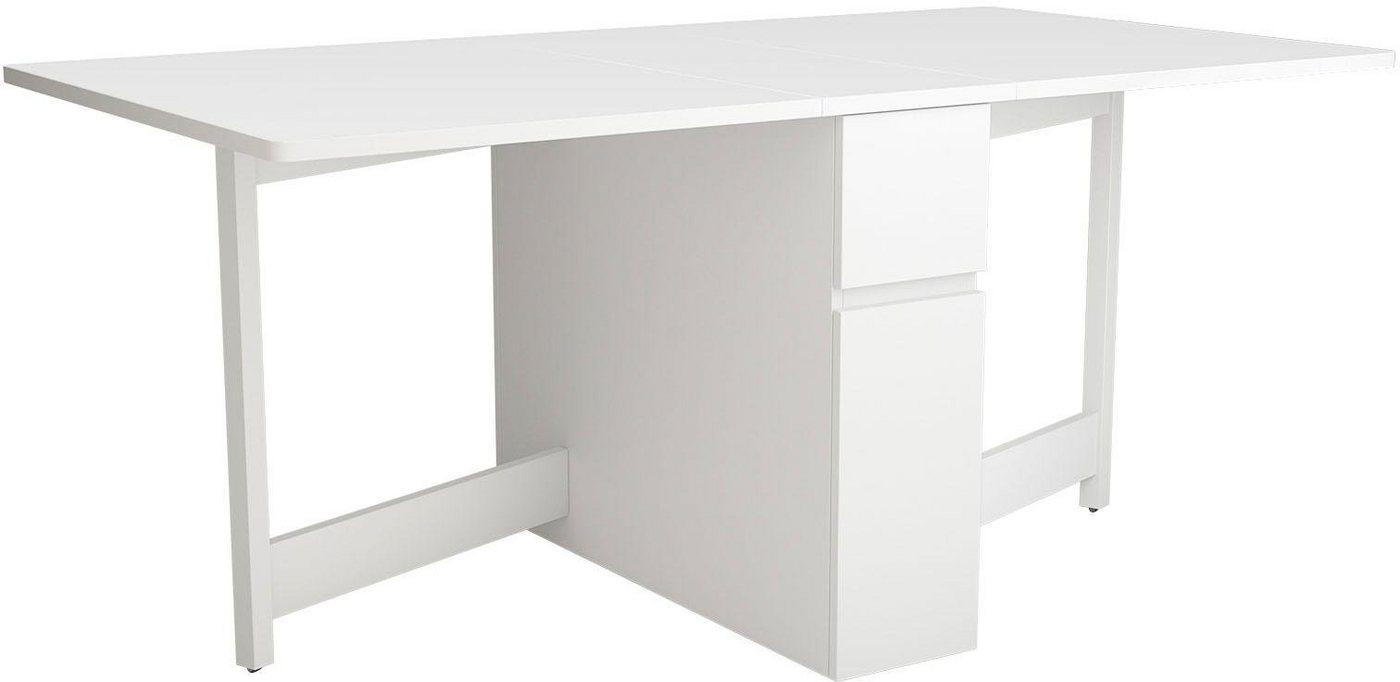 rechteckiger Esstisch, 2 klappbare Seitenteile, mit Schublade und Gefach