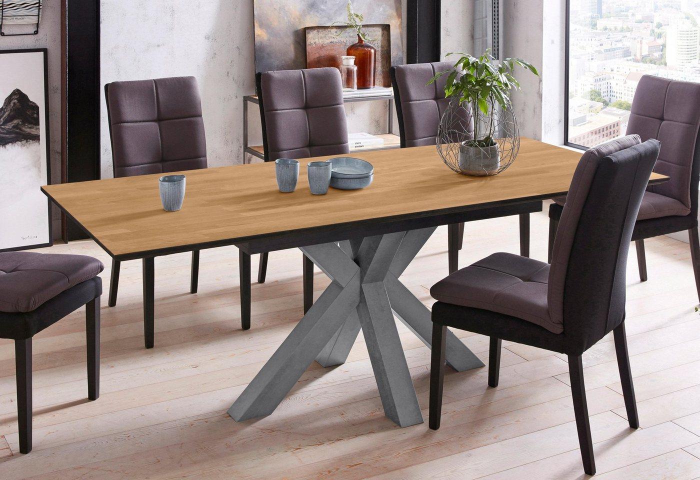 Mäusbacher Esstisch ausziehbar mit Beinen in Sternenform – graphit/oak